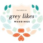 grey likes weddings badge bright
