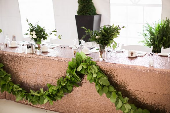 Head table garland by Oak & Lily Photo by Brittany Mahood MC Wedding-406