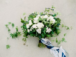 White and blue bouquet by Oak & Lily Flowers Photo by Brittany Mahood br-wedding001