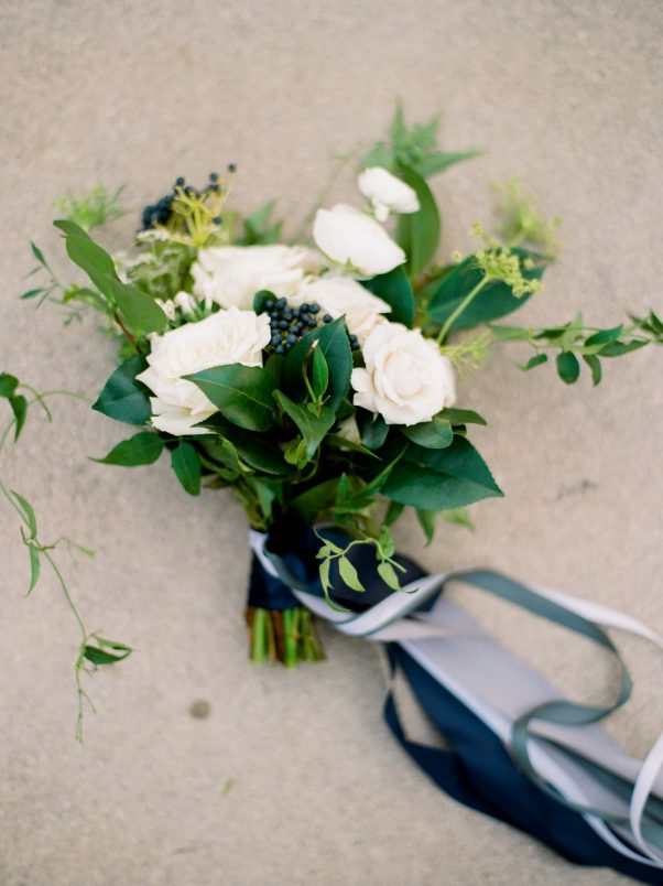 White and blue bouquet by Oak & Lily Flowers Photo by Brittany Mahood br-wedding008