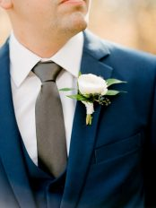 White and blue bouquet by Oak & Lily Flowers Photo by Brittany Mahood br-wedding181