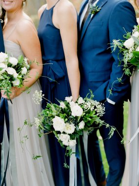 White and blue bouquet by Oak & Lily Flowers Photo by Brittany Mahood br-wedding187