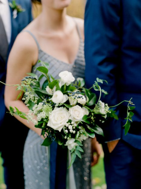 White and blue bouquet by Oak & Lily Flowers Photo by Brittany Mahood br-wedding192