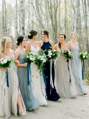 White and blue bouquet by Oak & Lily Flowers Photo by Brittany Mahood br-wedding244