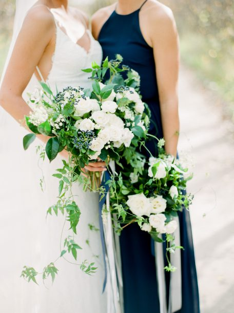 White and blue bouquet by Oak & Lily Flowers Photo by Brittany Mahood br-wedding257