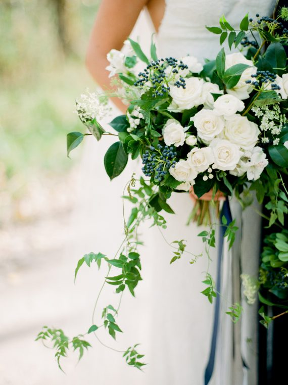 White and blue bouquet by Oak & Lily Flowers Photo by Brittany Mahood br-wedding258