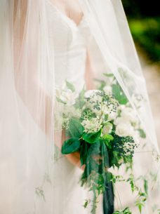 White and blue bouquet by Oak & Lily Flowers Photo by Brittany Mahood br-wedding309