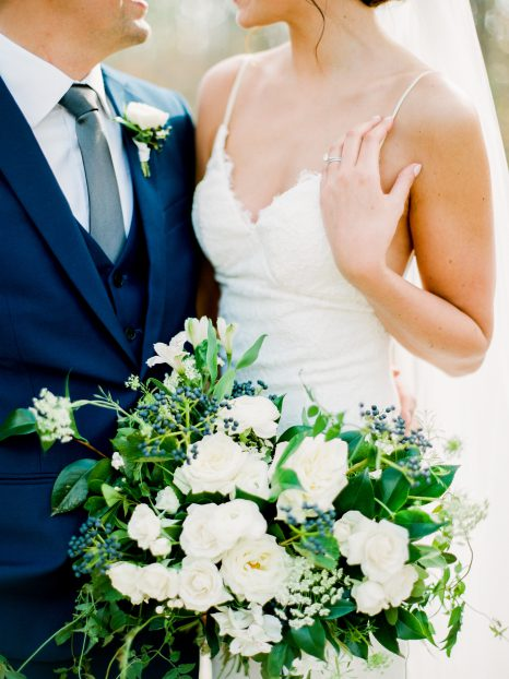 White and blue bouquet by Oak & Lily Flowers Photo by Brittany Mahood br-wedding345