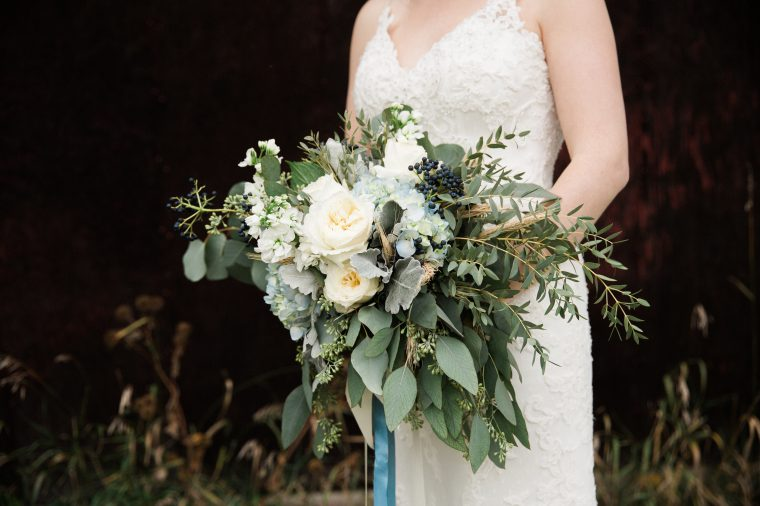 Oak & Lily Flowers Winnipeg Wedding Justine & Ben Blue and white bouquet
