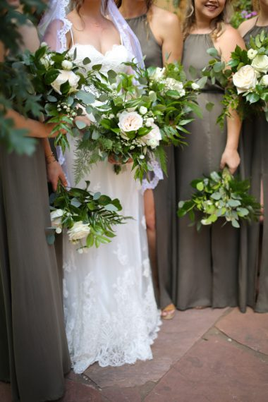 White Green Wedding Bouquet Grey Bridesmaid Dress Oak & Lily D&L-74